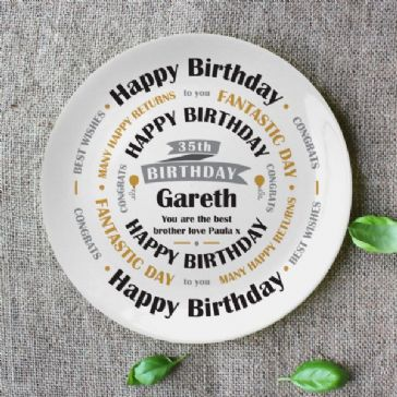 Birthday Celebration 8″ Bone China Coupe Plate